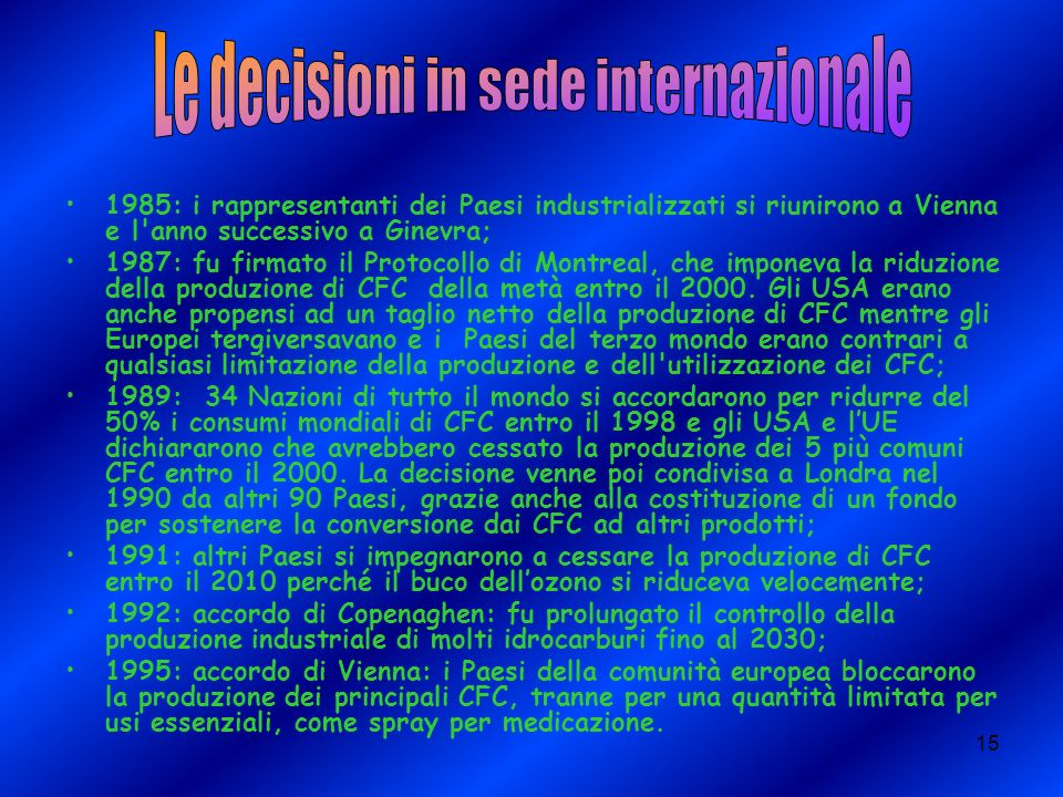 Le decisioni in sede internazionale