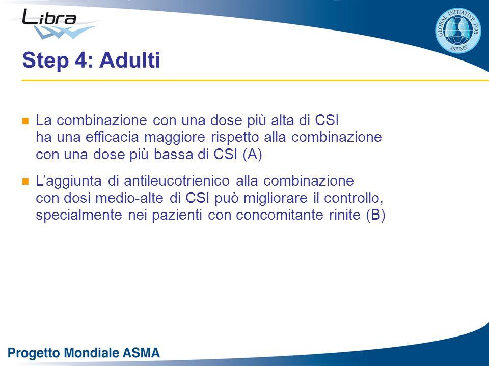 Step 4: Adulti La combinazione con una dose più alta di CSI ha una efficacia maggiore rispetto alla combinazione con una dose più bassa di CSI (A)
