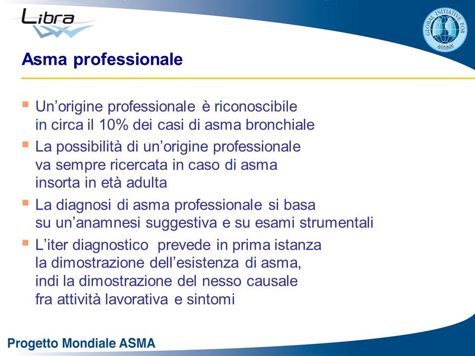 Asma professionale Un'origine professionale è riconoscibile in circa il 10% dei casi di asma bronchiale.