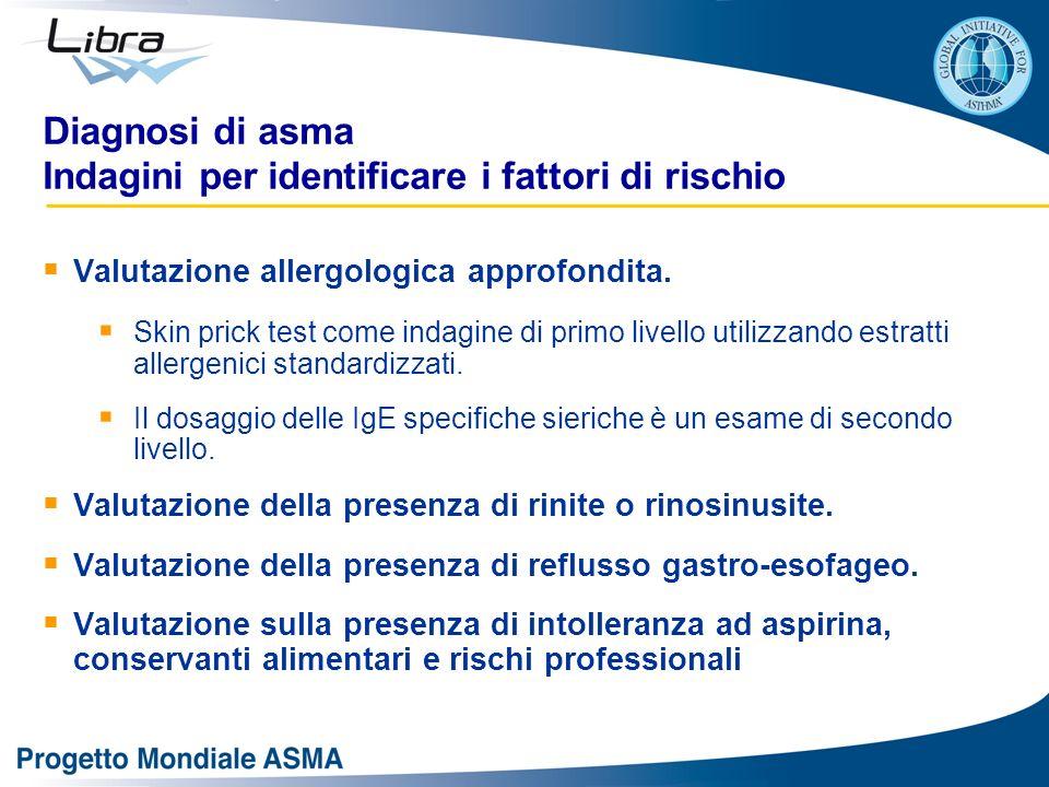 Diagnosi di asma Indagini per identificare i fattori di rischio