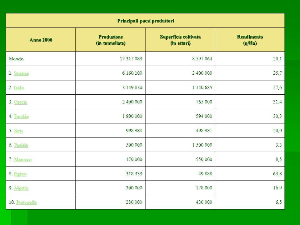 Principali paesi produttori Anno 2006 Produzione (in tonnellate)