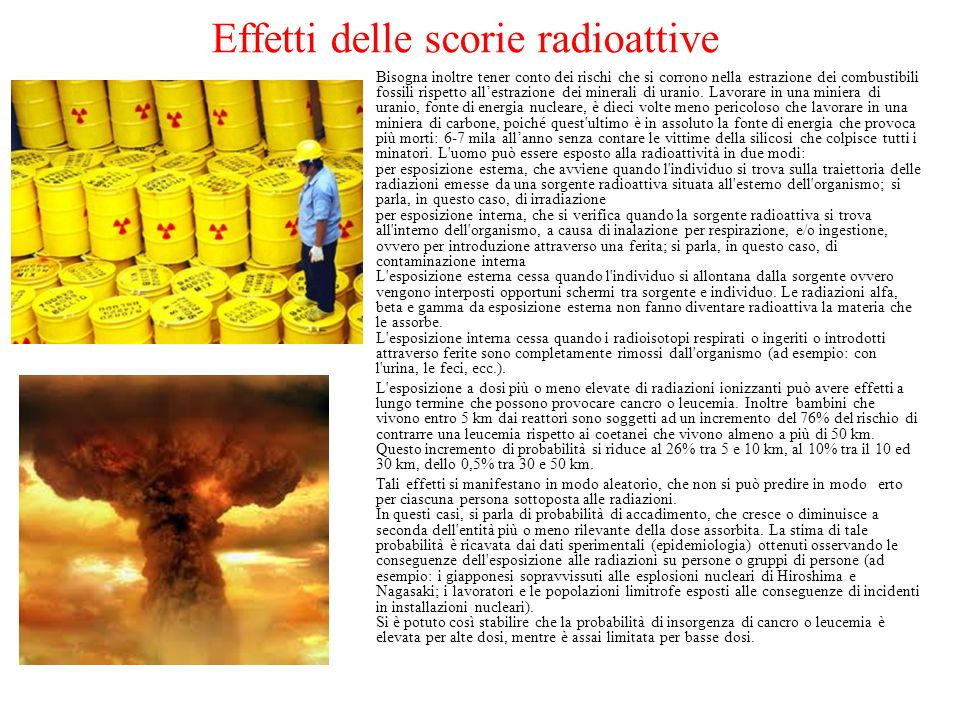 Effetti delle scorie radioattive