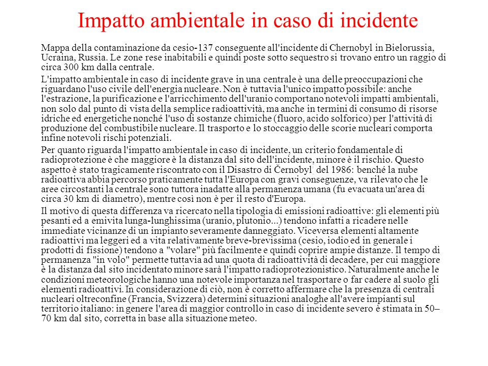 Impatto ambientale in caso di incidente
