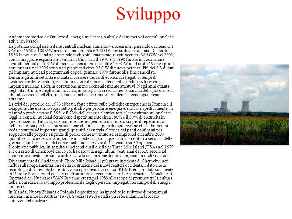 Sviluppo Andamento storico dell utilizzo di energia nucleare (in alto) e del numero di centrali nucleari attive (in basso).