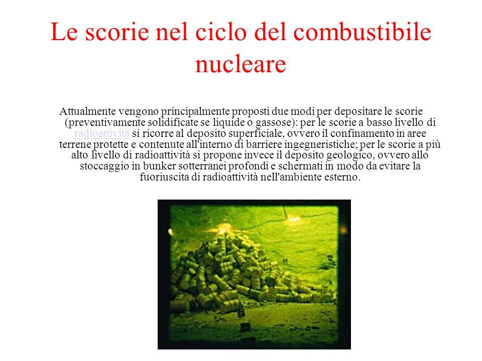 Le scorie nel ciclo del combustibile nucleare