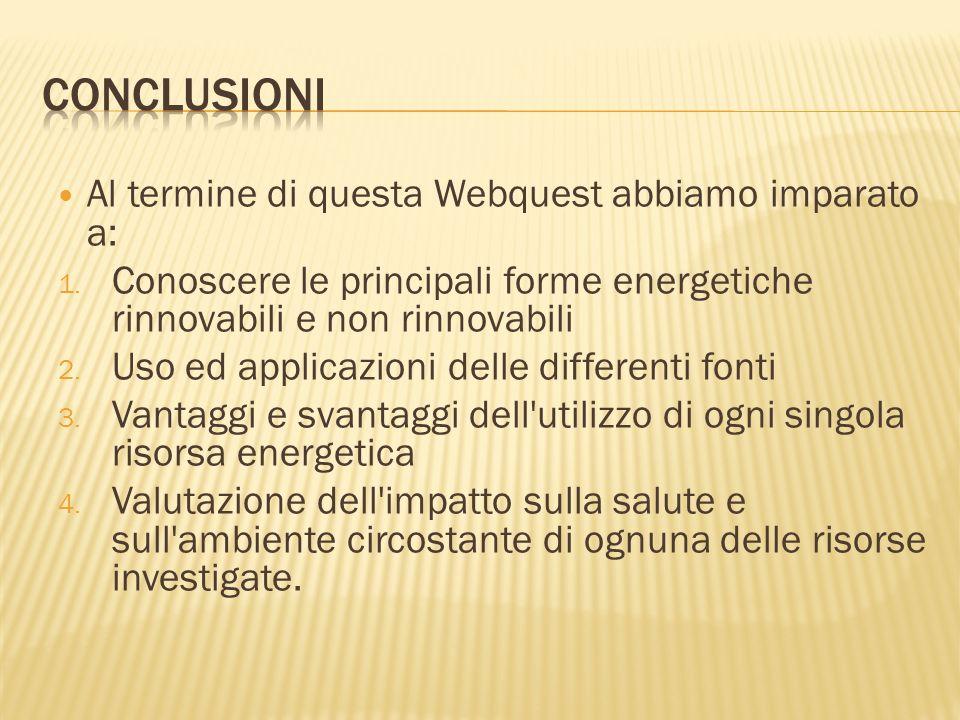 Conclusioni Al termine di questa Webquest abbiamo imparato a: