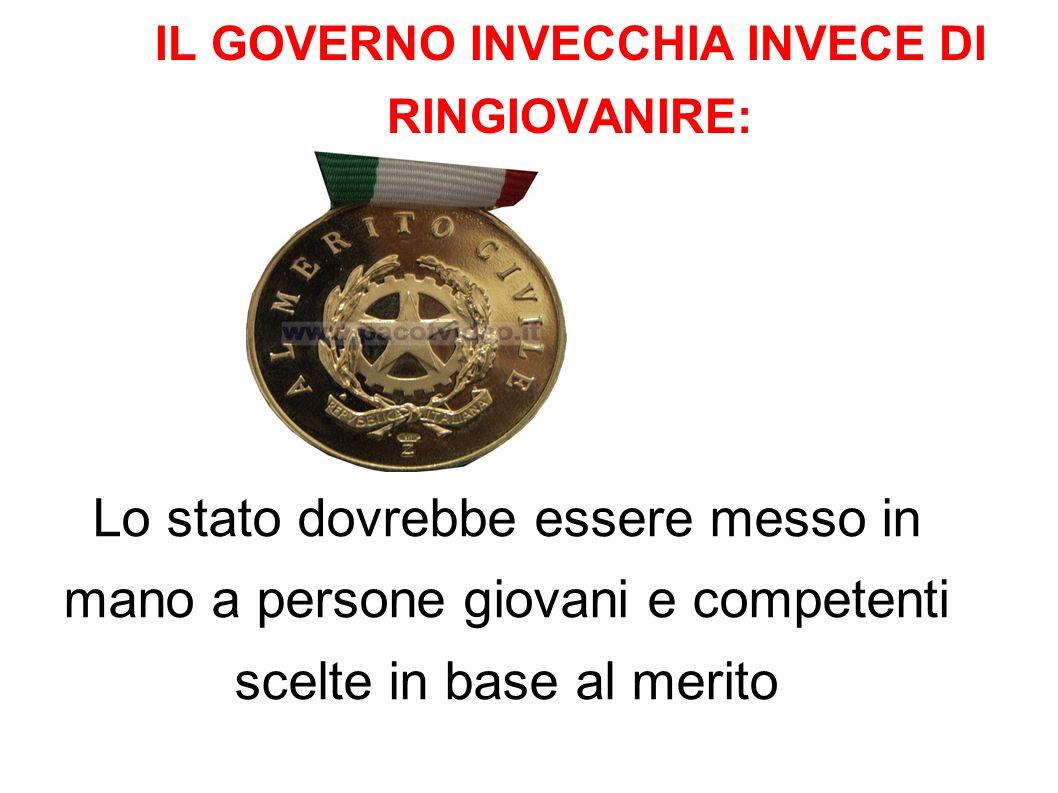 IL GOVERNO INVECCHIA INVECE DI RINGIOVANIRE: