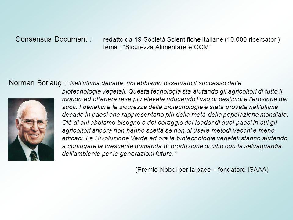 Consensus Document : redatto da 19 Società Scientifiche Italiane (10.000 ricercatori) tema : Sicurezza Alimentare e OGM