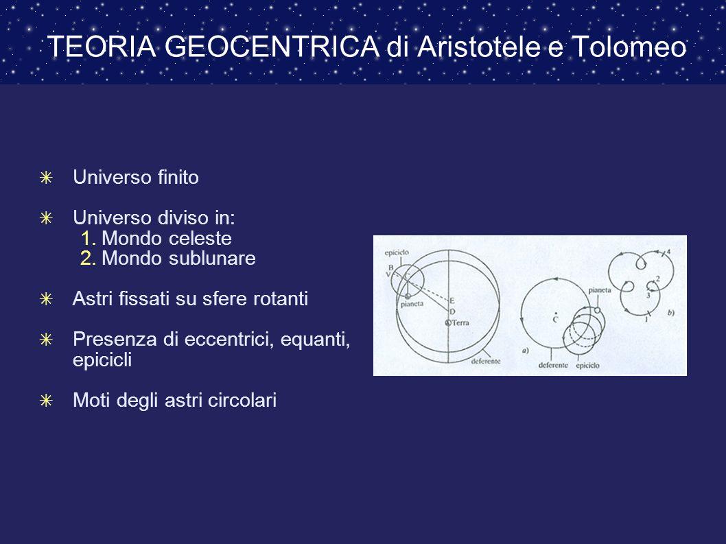 TEORIA GEOCENTRICA di Aristotele e Tolomeo