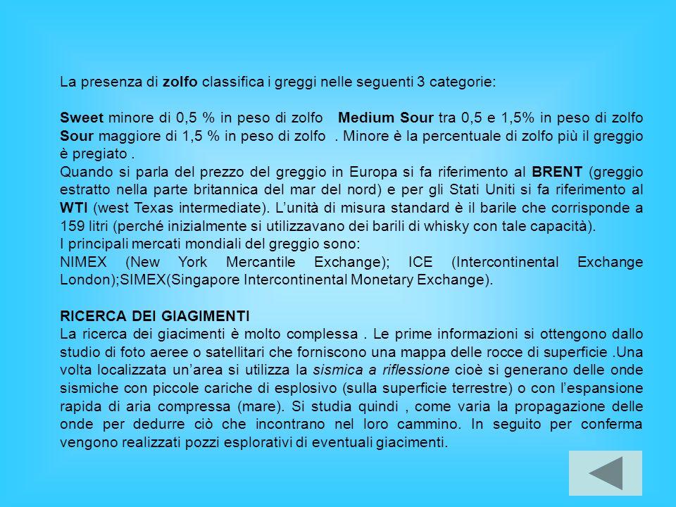 La presenza di zolfo classifica i greggi nelle seguenti 3 categorie: