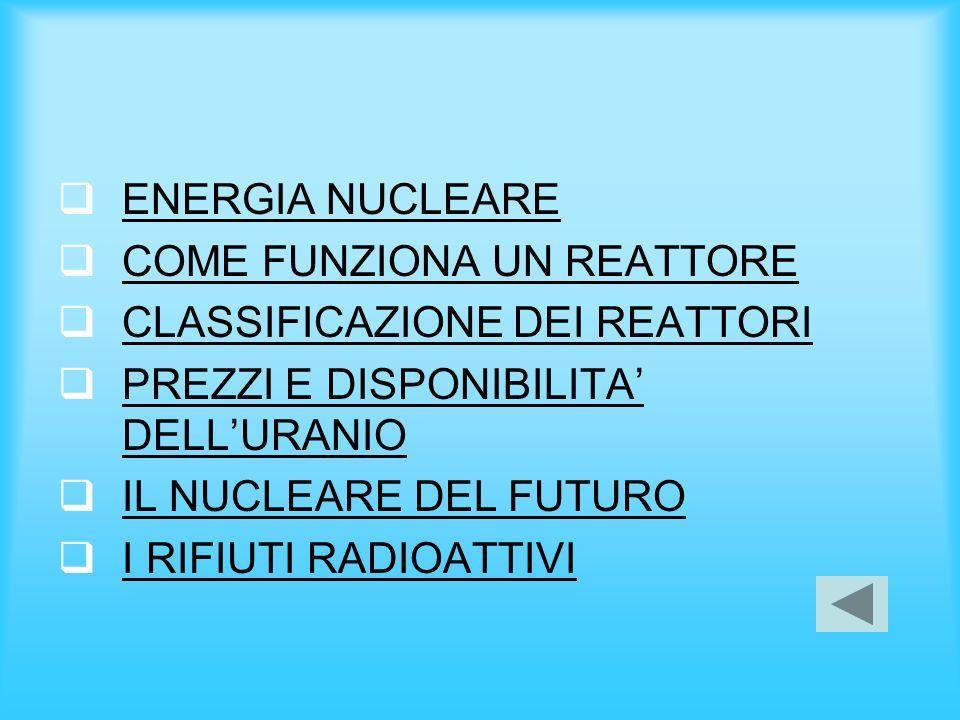 ENERGIA NUCLEARE COME FUNZIONA UN REATTORE. CLASSIFICAZIONE DEI REATTORI. PREZZI E DISPONIBILITA' DELL'URANIO.