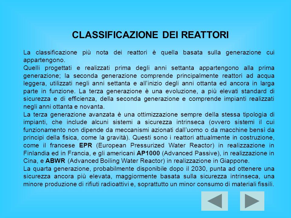 CLASSIFICAZIONE DEI REATTORI