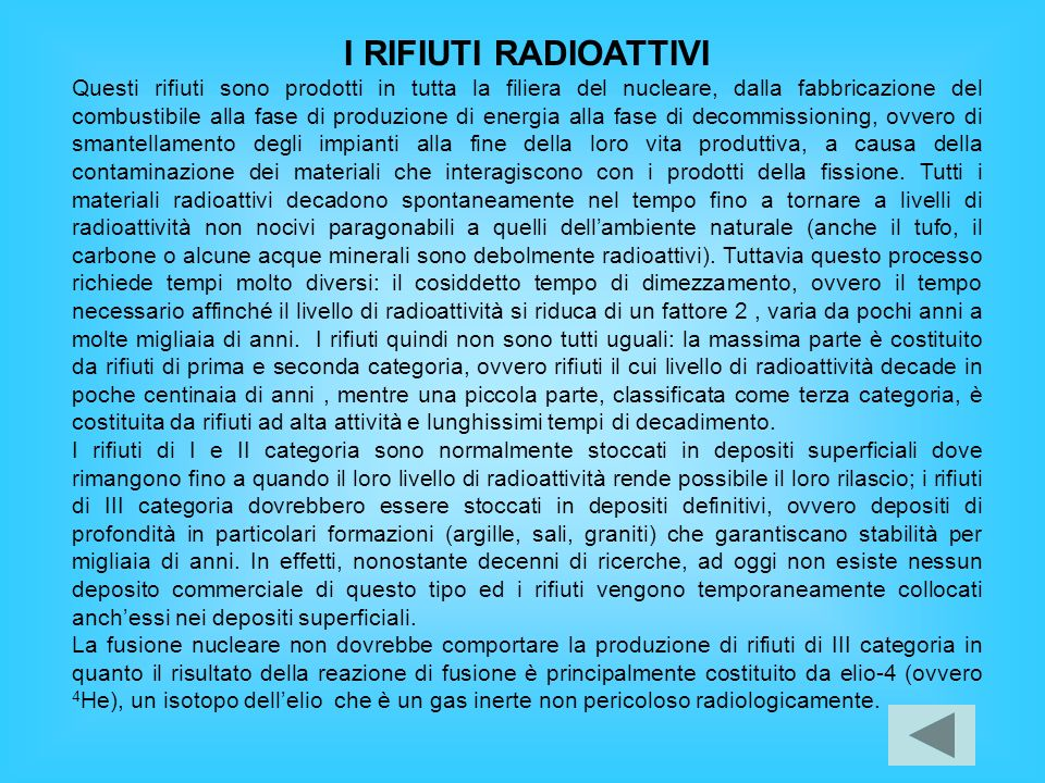 I RIFIUTI RADIOATTIVI