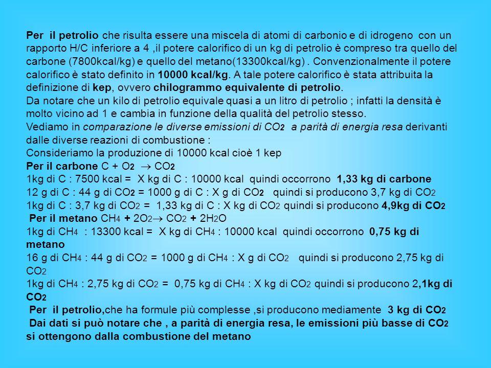 Per il petrolio che risulta essere una miscela di atomi di carbonio e di idrogeno con un rapporto H/C inferiore a 4 ,il potere calorifico di un kg di petrolio è compreso tra quello del carbone (7800kcal/kg) e quello del metano(13300kcal/kg) . Convenzionalmente il potere calorifico è stato definito in 10000 kcal/kg. A tale potere calorifico è stata attribuita la definizione di kep, ovvero chilogrammo equivalente di petrolio.