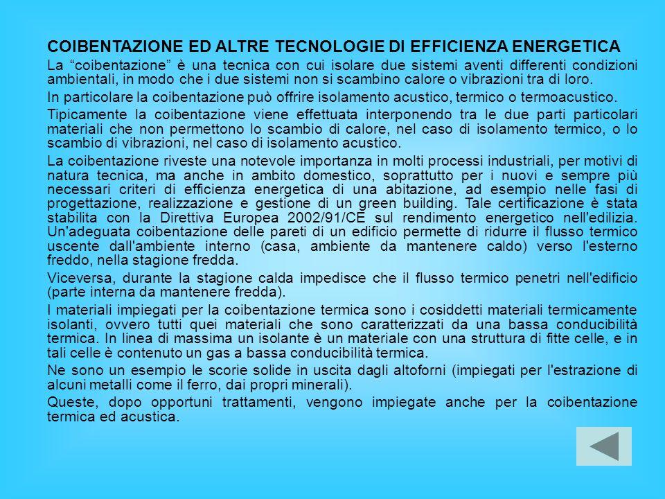 COIBENTAZIONE ED ALTRE TECNOLOGIE DI EFFICIENZA ENERGETICA