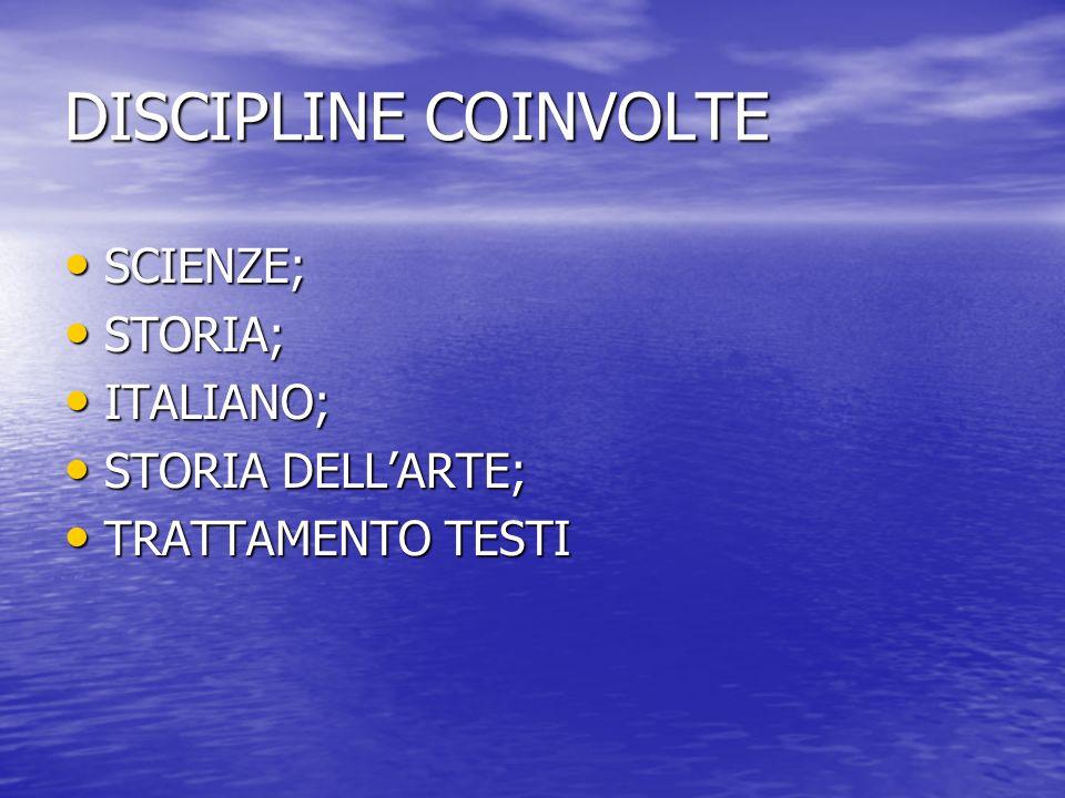 DISCIPLINE COINVOLTE SCIENZE; STORIA; ITALIANO; STORIA DELL'ARTE;