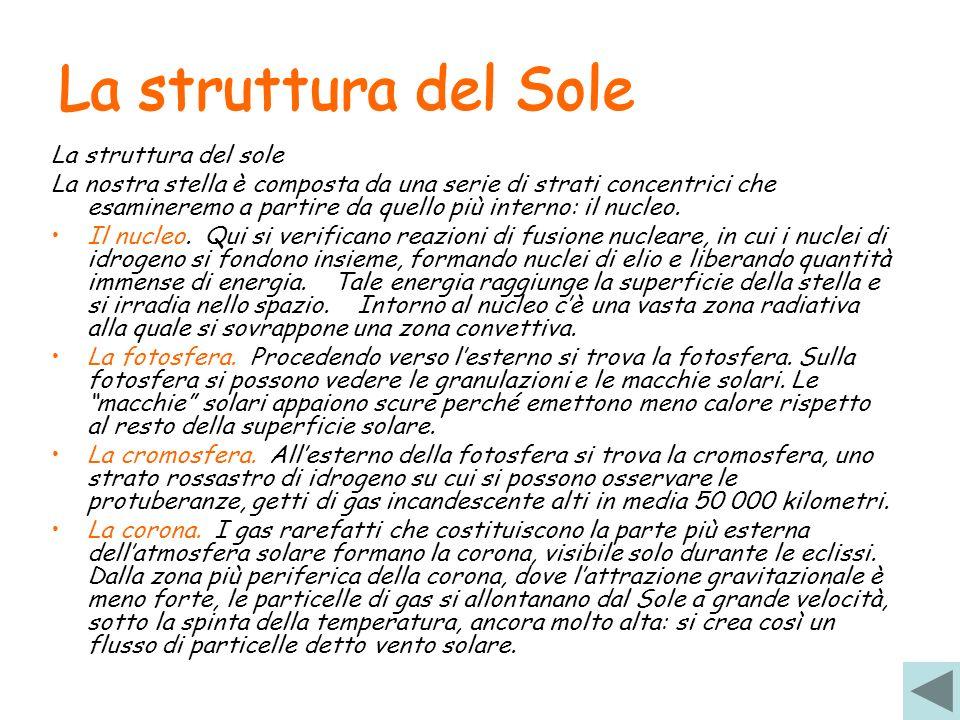 La struttura del Sole La struttura del Sole La struttura del sole