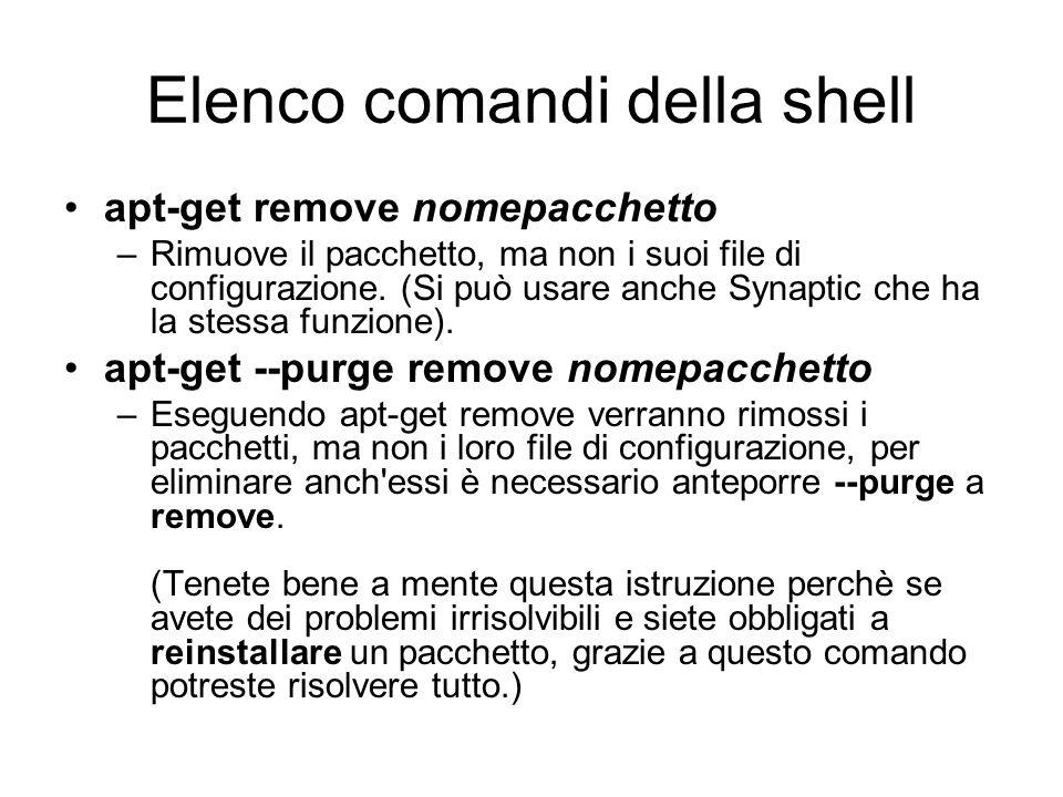 Elenco comandi della shell
