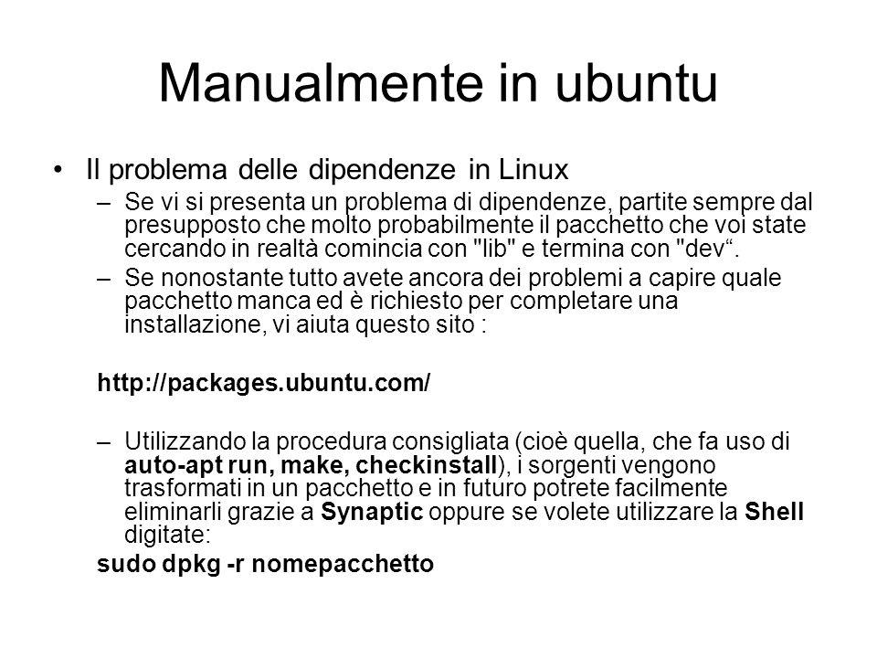 Manualmente in ubuntu Il problema delle dipendenze in Linux