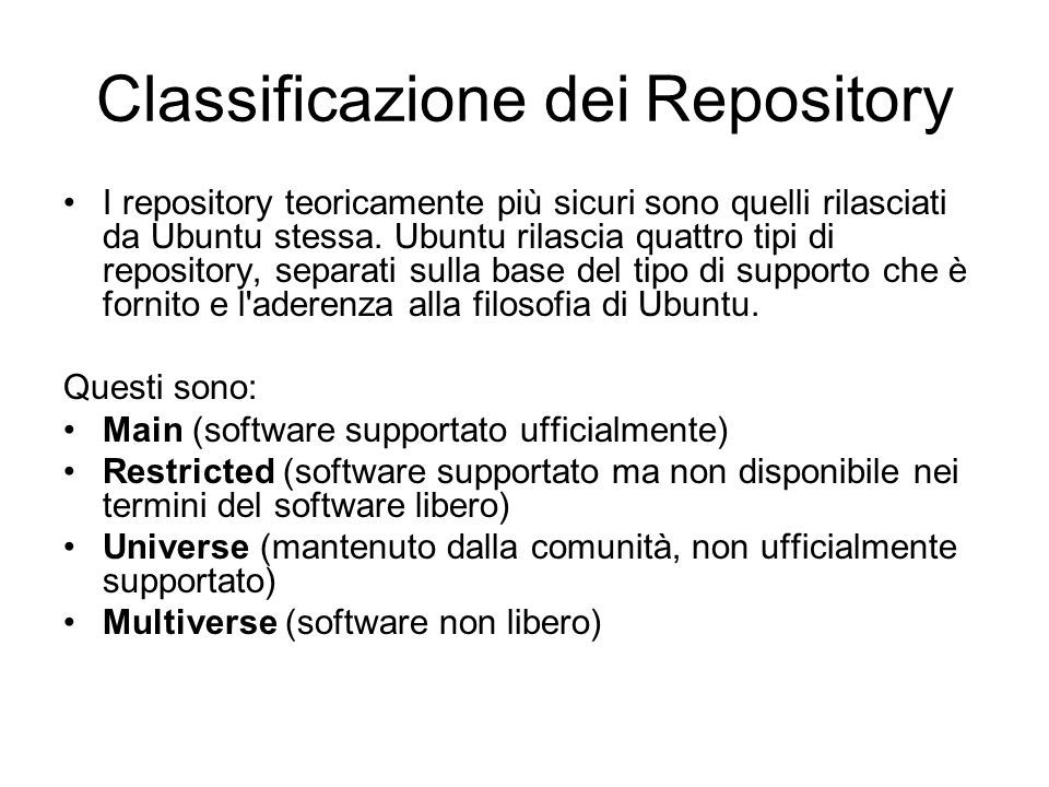 Classificazione dei Repository