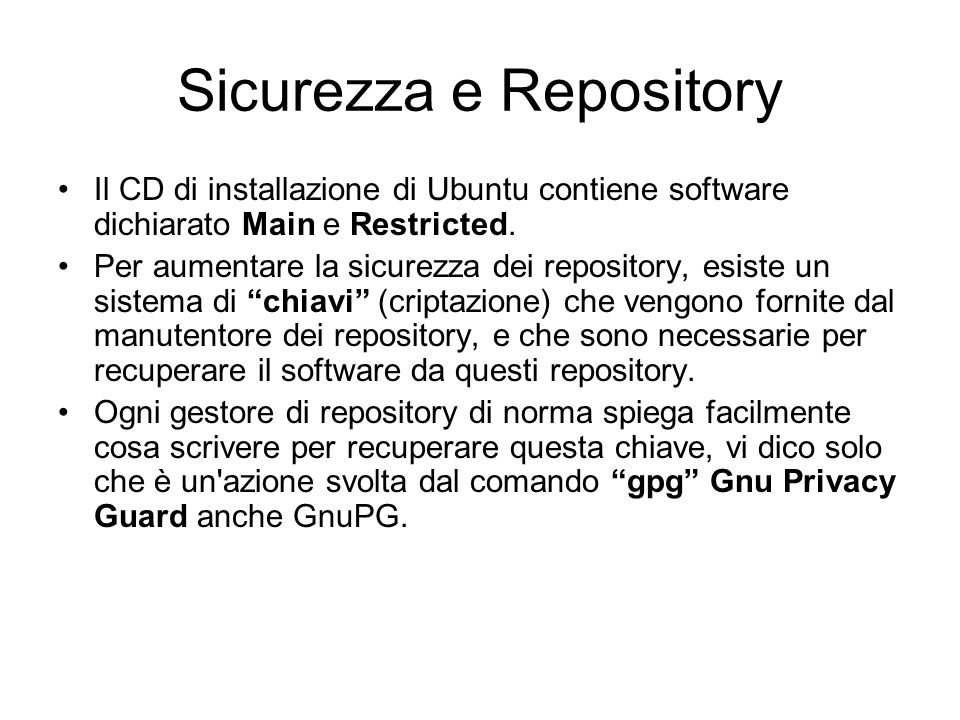 Sicurezza e Repository