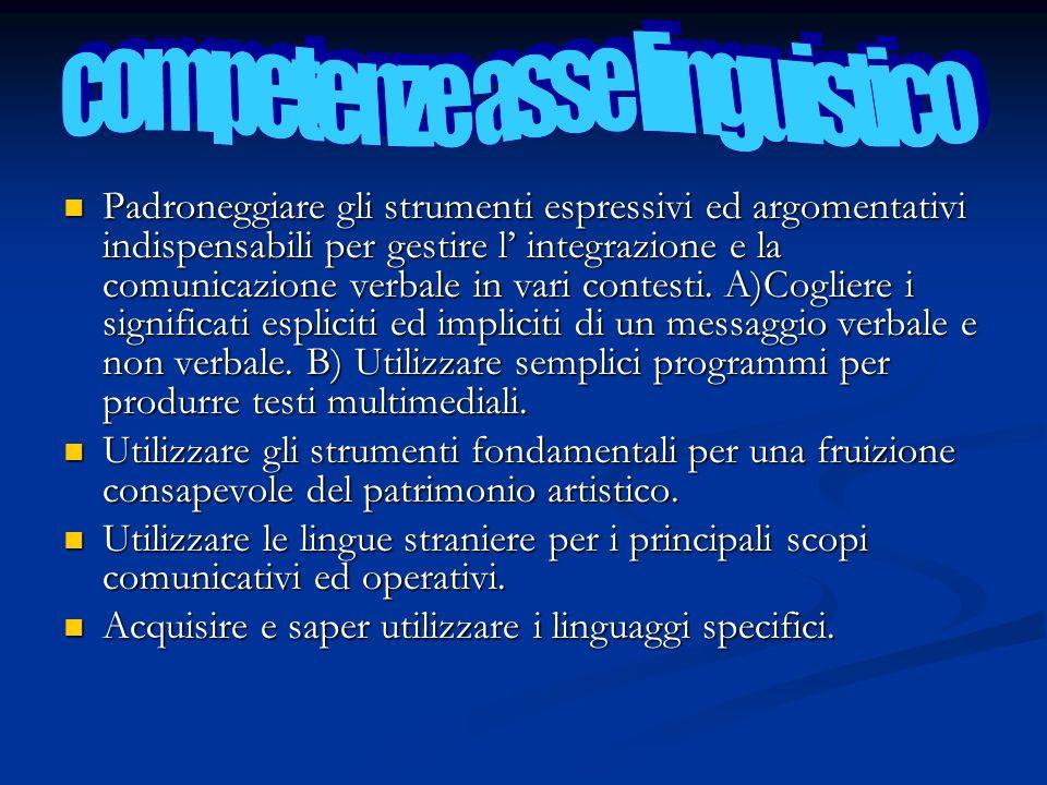 competenze asse linguistico