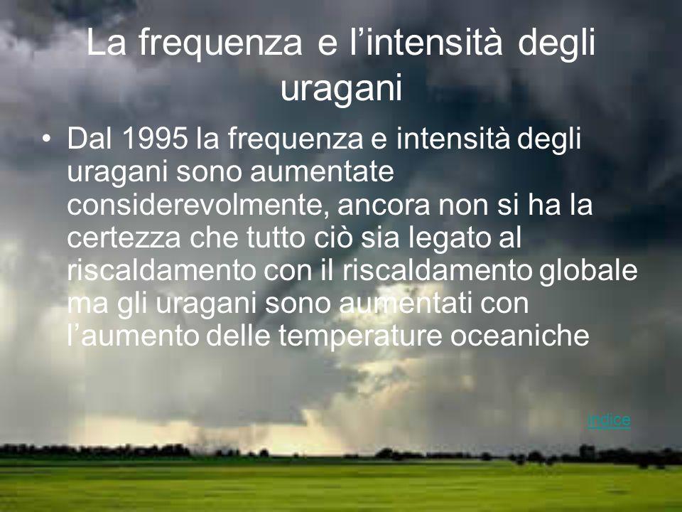 La frequenza e l'intensità degli uragani