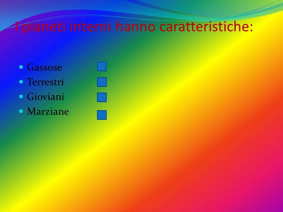 I pianeti interni hanno caratteristiche: