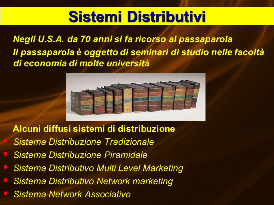 Sistemi Distributivi Negli U.S.A. da 70 anni si fa ricorso al passaparola.