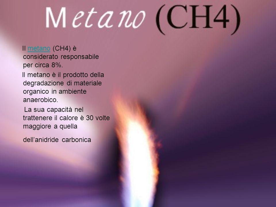 Il metano (CH4) è considerato responsabile per circa 8%.
