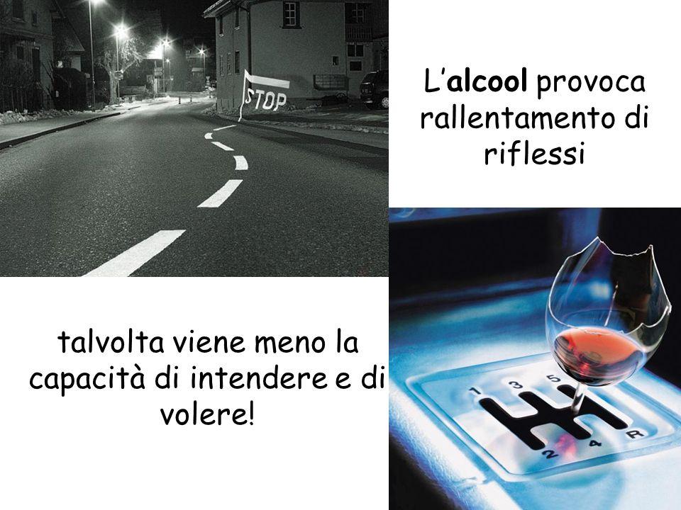 L'alcool provoca rallentamento di riflessi