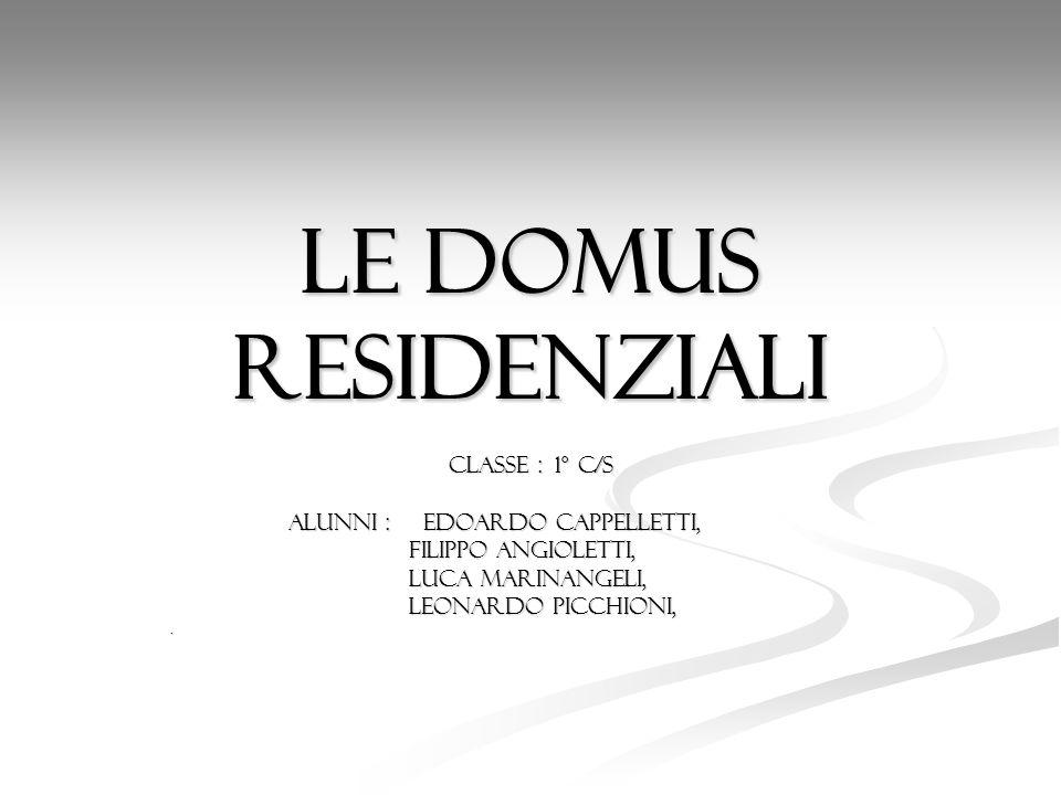 Le domus residenziali Classe : 1° c/s Alunni : Edoardo Cappelletti,