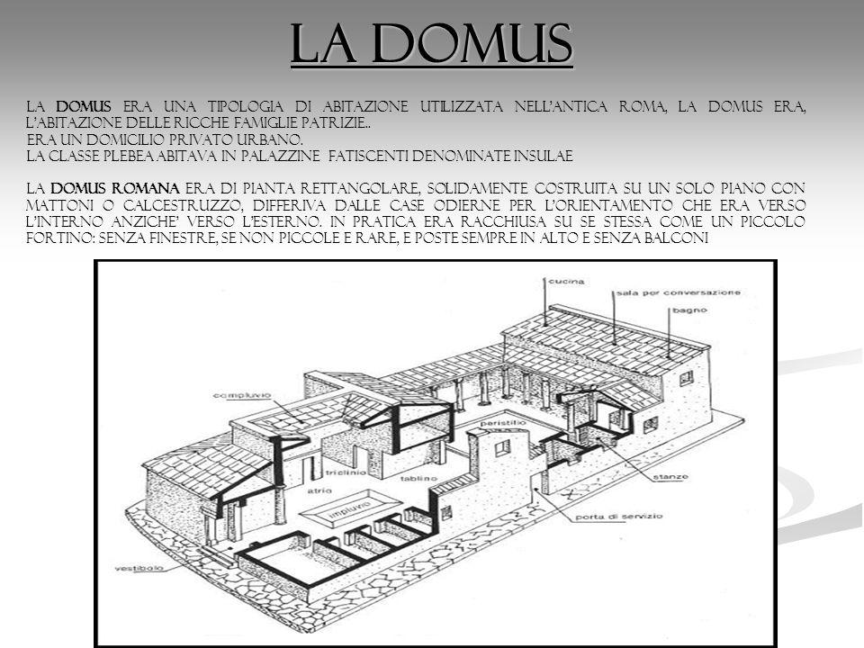 La domusla domus era una tipologia di abitazione utilizzata nell antica Roma, la domus era, l abitazione delle ricche famiglie patrizie..