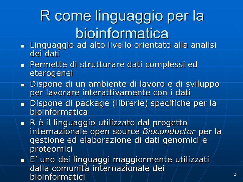 R come linguaggio per la bioinformatica