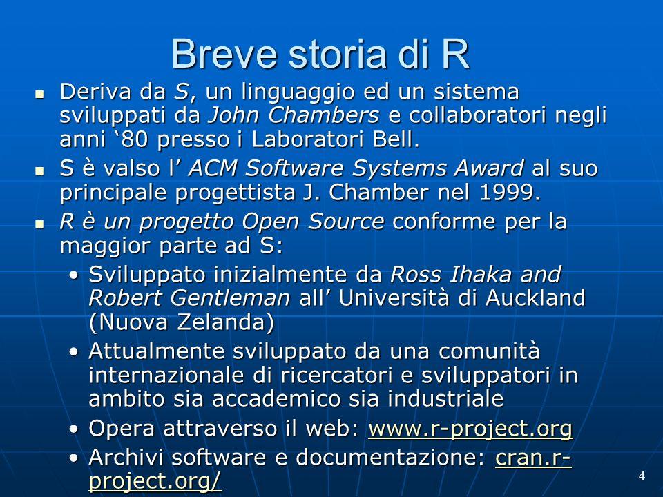 Breve storia di R Deriva da S, un linguaggio ed un sistema sviluppati da John Chambers e collaboratori negli anni '80 presso i Laboratori Bell.