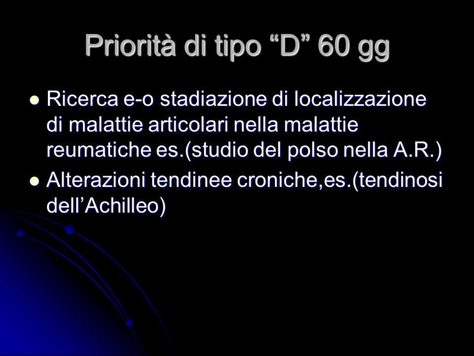 Priorità di tipo D 60 gg