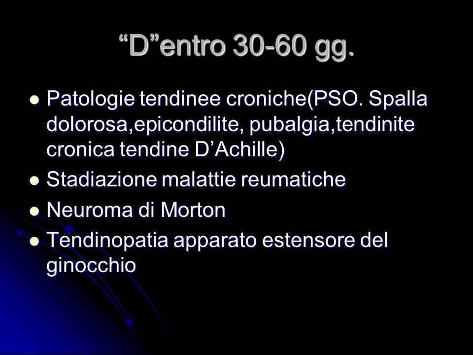 D entro 30-60 gg. Patologie tendinee croniche(PSO. Spalla dolorosa,epicondilite, pubalgia,tendinite cronica tendine D'Achille)