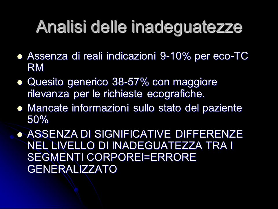 Analisi delle inadeguatezze