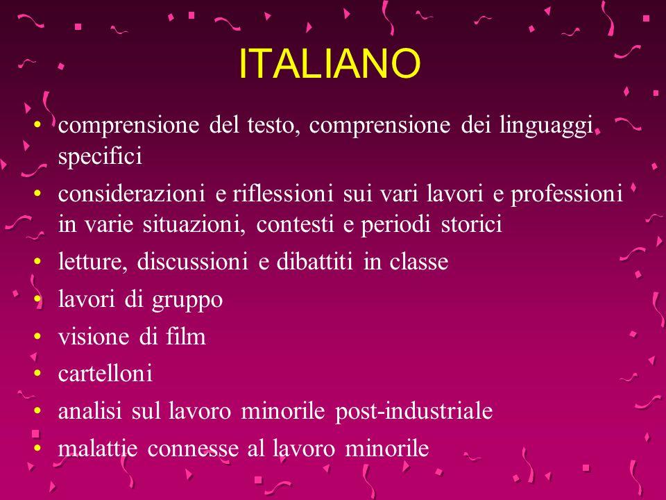 ITALIANO comprensione del testo, comprensione dei linguaggi specifici