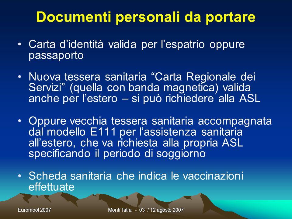 Documenti personali da portare