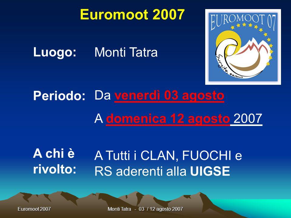 Euromoot 2007 Luogo: Monti Tatra Periodo: Da venerdì 03 agosto
