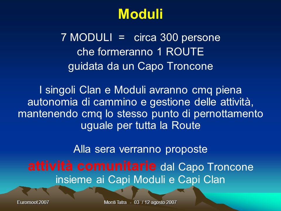 Moduli 7 MODULI = circa 300 persone. che formeranno 1 ROUTE. guidata da un Capo Troncone.