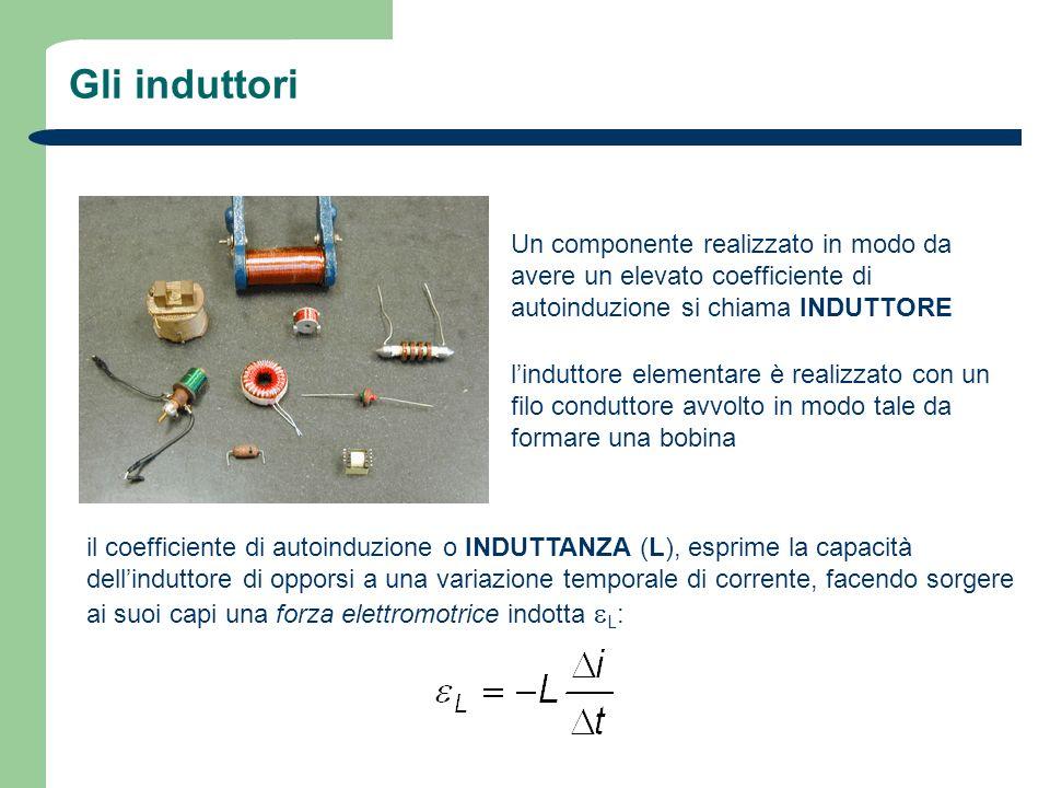 Gli induttoriUn componente realizzato in modo da avere un elevato coefficiente di autoinduzione si chiama INDUTTORE.