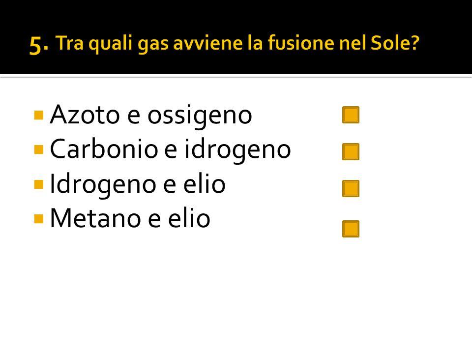 5. Tra quali gas avviene la fusione nel Sole