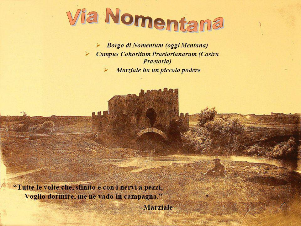 Via Nomentana Borgo di Nomentum (oggi Mentana) Campus Cohortium Praetorianarum (Castra Praetoria)