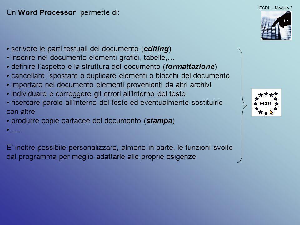 Un Word Processor permette di:
