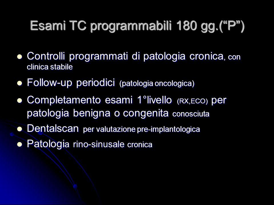 Esami TC programmabili 180 gg.( P )