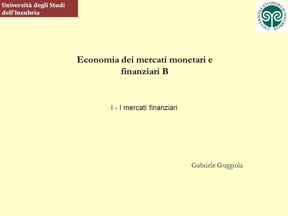 Economia dei mercati monetari e finanziari B