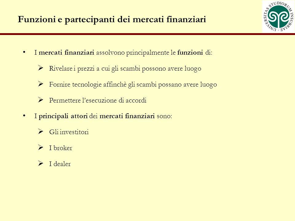Funzioni e partecipanti dei mercati finanziari
