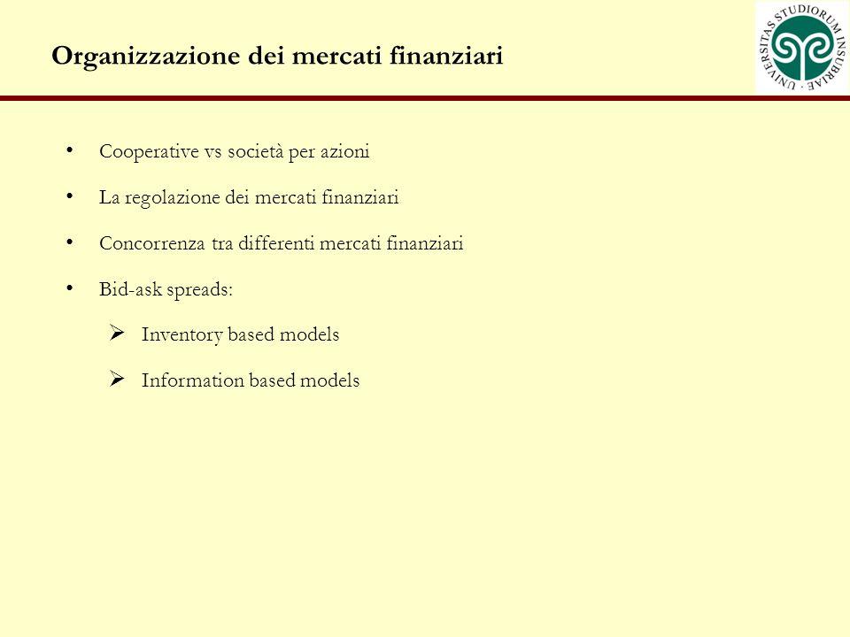 Organizzazione dei mercati finanziari